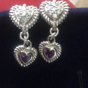 🌹NWOT Judith Ripka Amethyst & DMQ Heart Earrings